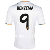 Hot sell!!! 13/14 best thai quality real madrid home white #9 BENZEMA soccer football jersey ,  real madrid football jersey