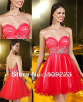 New Style 2013 Cheap Red A Line Sweetheart with beaded Organza Sexy Short Prom Dress Cocktail Dresses