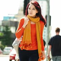 Free shipping Wool knitted scarf autumn and winter women's scarf yarn girls stripe b0950