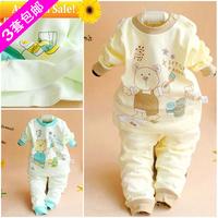 2013 ploughboys autumn child thermal underwear twinset bear buckle underwear set 508