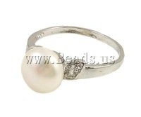 Free shipping!!!Freshwater Pearl Finger Ring,Fashion Jewelry in Bulk, Cultured Freshwater Pearl, with Rhinestone & Brass, white