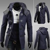 Free Shipping  new 2013 mens trench coat casual men outdoors hip hop winter jacket cap men windbreaker