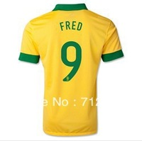 2014 Brazil Football jersey ,13/14 best Thailand Quality Players version Brazil home Yellow #9 FRED soccer Football jersey