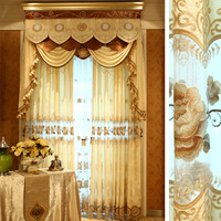 Fashion curtain finished products luxury quality window screening water soluble embroidered princess real curtain
