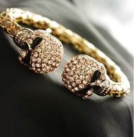 B1013  top fashion crystal gold skull bracelet skull bangle 6PCS/LOT   free shipping