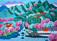 Bright spring days, beautiful scenery. Peasant farming. Chinese peasant painting colorful world.