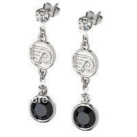 Free shipping Philadelphia Flyers NFL sport Drop Earrings Rhodium plated Rhinestone 60 pairs a lot Wholesale