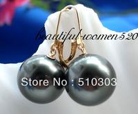 HUGE 16mm Tahitian black shell pearl dangle earring 14k