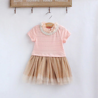 Summer female child short-sleeve tulle dress clothing pearl lace collar one-piece dress