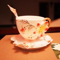 LOVE Avowedly porcelain enamel orchid coffee cup set quality porcelain flange gift box set