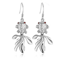 TOP 925 Silver Earrings Red Swiss Irish Eyes Fish Drop Earrings For Dance Party SK046