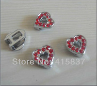 Free Shipping 50pcs 8mm heart  Zinc alloy and rhinestone Slide Charms fit 8mm Belt Pet Collar