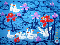 Lotus duck. The flower and bird painting, hotel and home furnishing decoration painting, Chinese painting Huxian farmers.