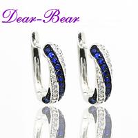 Luxury 925 Sterling Silver Twisted Pave CZ Huggie Hoop Earring Jewellery