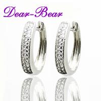 Luxury Sterling Silver 925 Earring, 925 Sterling Silver Double Row CZ Hoop Pierced Earring Jewellery