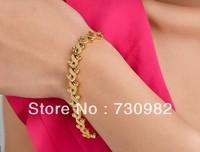 9k 14k 18k yellow glod  bracelet  fashion jewelry golden arabesquitic  birthday  gift   beautiful hand wearing free shipping