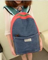 2013 women's handbag bag summer denim color block backpack canvas backpack unisex school bag