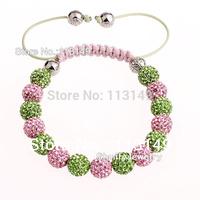 Free Shipping Wholesale Fashion Handmade 5Pcs/lot Shamballa Bracelet With Crystal Ball 10mm Pink And Green Beads PBS217-1-7