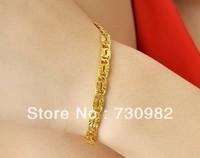 9k 14k 18k yellow glod  bracelet  fashion jewelry golden lock chain  birthday  gift   beautiful hand wearing free shipping
