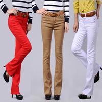Slim 100% cotton multicolour boot cut plus size elastic women's denim trousers female flare trousers