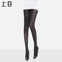 Love gold print black stockings silk pantyhose legging socks female s-8306