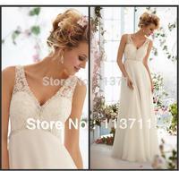 Top Sale New Arrival A-line V-neck Lace Chiffon Long Wedding Dress 2013