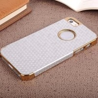 Luxury Football Pattern Leather Back Case Electroplate Gold Frame Hard Cover For Apple iPhone 4 4S Drop Shipping