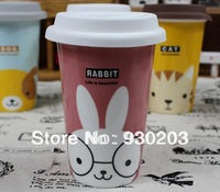 Ceramic Coffee Mug with Silicon Lid and Spoon Cute Cartoon Animal Pattern Free Shipping