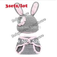 3sets/lot New Cute Infant Hats Set/Baby Rabbit Pattern Animal Wool Knit Cap/Beanies Pants Sets Gray 18009