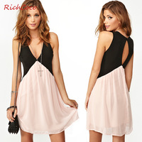 Fashion richcoco colorant match the back cutout V-neck sleeveless chiffon vest one-piece dress d141