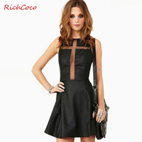 Sexy gauze richcoco cross patchwork racerback top tube o-neck PU one-piece dress tank dress d144