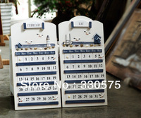 Hot sale Mediterranean marine style zakka white solid wood calendar perpetual calendar  Home Decoration 2 kinds option
