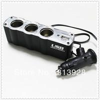 DC 12V 1 to 3 Car Cigarette Lighter Socket Power Adapter Splitter with 1 USB Port