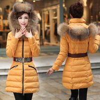 2013 free shipping, hot popular world famou lei feng cap large fur collar down coat thickening fur outerwear women's medium-long