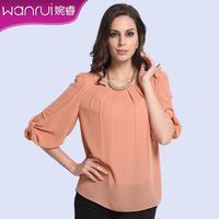 Women's summer 2013 ol gentlewomen three quarter sleeve fashion loose top chiffon shirt female