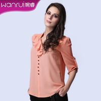 Women's summer 2013 ol fashion gentlewomen three quarter sleeve top twinset chiffon shirt
