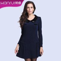 Women's new arrival 2013 fur collar diamond slim puff sleeve fashion turn-down collar one-piece dress 5252