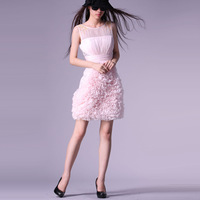 2013 spring and summer new arrival beautiful princess wind paillette decoration flower skirt high waist silk dress  High Quality