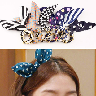 1862 free shipping hair accessory multicolor hari rope rabbit ears cloth chiffon wide ribbon hair rope headband