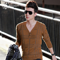 Men's clothing autumn thin sweater male casual sweater V-neck sweater 8137702