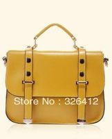 Hot selling 2013 female fashion vintage messenger bag shaping candy color PU women's handbag shoulder bag free shipping