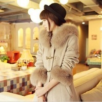 Anti season big large fur collar metal buckle wool coat woolen wool fashion design long outerwear