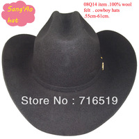 Fashion Black  west style Large cowboy hats 100% wool with white lining and could print logo and felt strap and sweatband