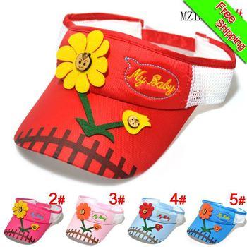 Free Shipping!2013New Arrival My Baby Sun Flower Polyester Baseball Cap Cute Lovely Children's Sun Hat Summer Style