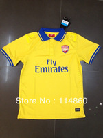 13/14 best thailand quality Players version Arsenal away yellow soccer jersey shirts football jersey uniforms