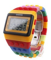 Casual Watches,Multi-Color Block Brick Style Automatic Wrist Watch with Night Light,Rubber Band,Alarm,For Boys Kids Children,