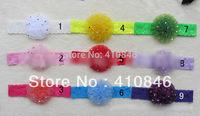Children's Flower Hairband Net yarn carnation lace headband with drills 50 pcs lot MX3050