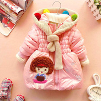 Retail 1 pcs children spring autumn winter coat warm jackets for girls with hoody cartoon print free shipping CCC200