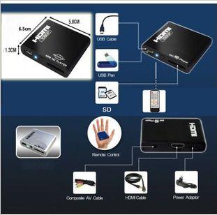Free shipping Hd hdmi multimedia player car hard drive u