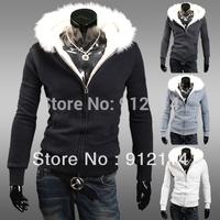 2014 new high-grade fur collar fleece hooded sweatshirt for men casual slim white hoodies Sweaters,M-XXL,